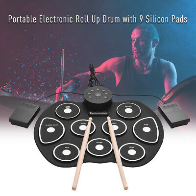 Compact Size USB Roll-Up Silicon Drum Set Digital Electronic Drum Kit 9 D6Q4