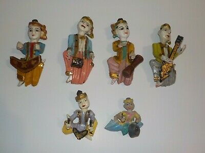 6 Asian Thai Musicians Carved Wood Wall Hanging Figurine Set Band Men