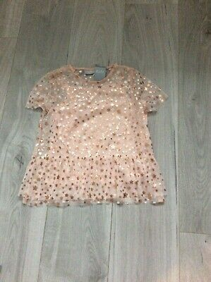 Girls top cami set,  blush pink with gold stars age 8 years, bnwt
