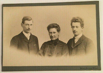 Vintage Cabinet Photo of Family Portrait of Mom & 2 Sons Taken in Germany #4362