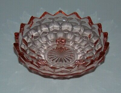 Art Deco Footed Pink Depression Glass Candy Bowl Dish Vintage