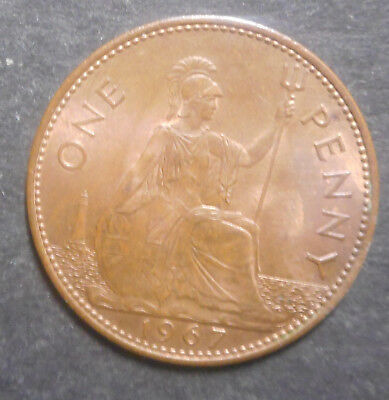 Great Britain 1967 QEII   Penny Coin UNC  red