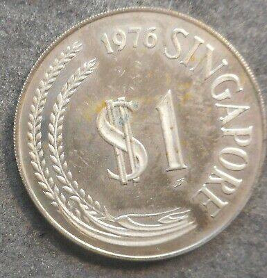 Singapore 1976 1 Dollar silver Proof  Coin raw coin toned etc