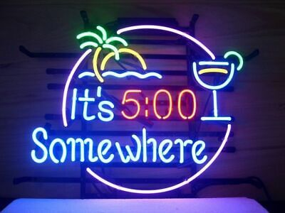"""It's 5:00 500 Somewhere Palm Tree Neon Light Sign 20""""x16"""" Beer Cave  Lamp Bar"""