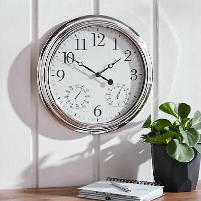 BN Elegant Silver Wall Hanging Clock With Humidity/Temperature Dials In/Outdoor