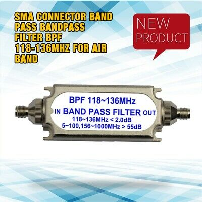 New SMA Connector Band Pass Bandpass Filter BPF 118-136MHz for Air Band NEW