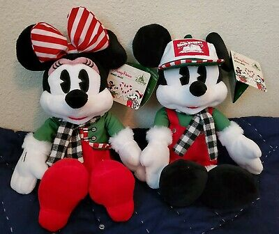 "NEW Disney Parks 2019 Mickey & Minnie Mouse Christmas Holiday 11"" Plushes"