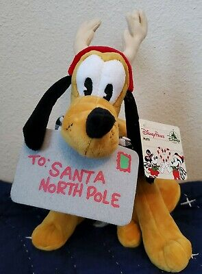 "NEW WITH TAGS Disney Parks 2019 Christmas / Holiday Pluto 11"" Plush"