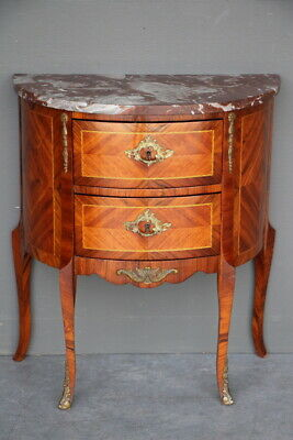Marquetry demi lune marble top antique French Louis rococo style bedside chest