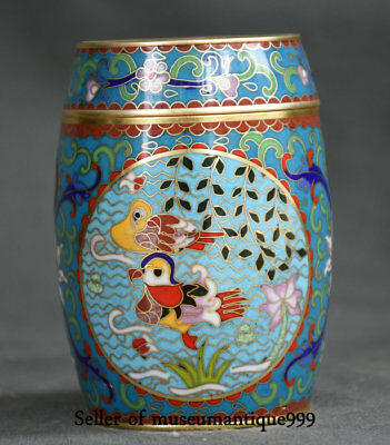 "4"" Chinese cloisonne Bronze Dynasty Palace mandarin duck coccoloba toothpick Box"