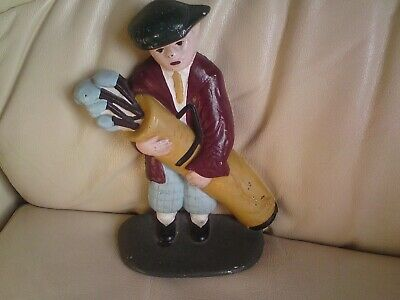 Vintage  Painted Cast Iron Golfer Door Stop 21 cms tall, Golf Player,USED,