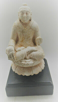 Beautiful Ancient Gandharan White Crystalline Stone Carving Of A Buddha