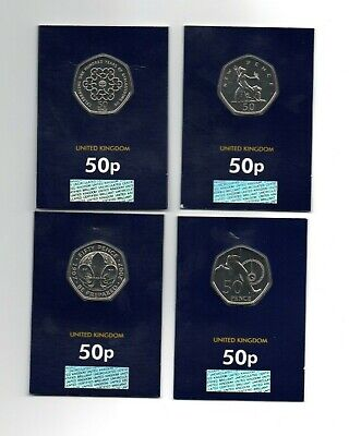 2019 50 years of the Fifty Pence 50p set of 4 Brilliant Uncirculated coins BU UK