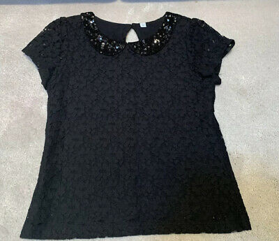 M&S Girls Black Sparkly Sequin Lace Black Party Top Age 8-9 Yrs Vgc