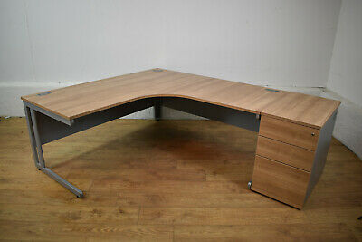Sven Birch/Silver Radial Executive Office Desk + Desk Height Pedestal 1800x2250