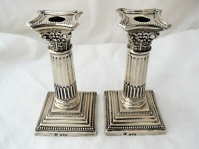 Pair Of Sterling Silver Candlesticks - Chester 1907 - Corinthian Columns