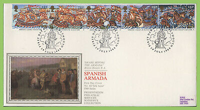 G.B. 1988 Armada set on PPS Silk First Day Cover, Plymouth