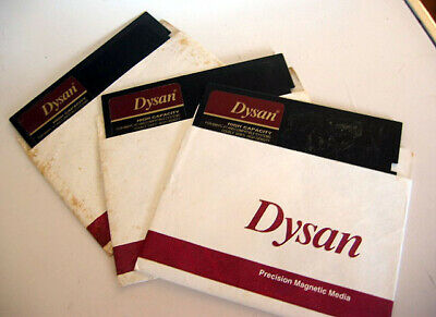 "3x Vintage DYSAN High Capacity Double Sided High Density 5.25"" Floppy Disks"