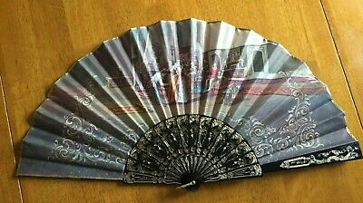 Vintage double sided decorative large material hand held fan