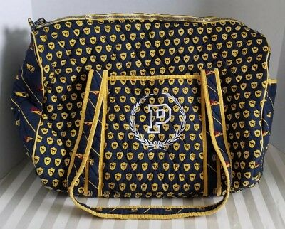 RARE Victorias Secret PINK Quilted JET SET Varsity Carry On Duffel Blue Yellow
