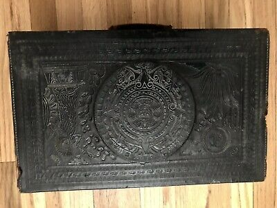 Vtg Mexican Hand Tooled Leather Suitcase Briefcase Mayan Aztec God Cacti