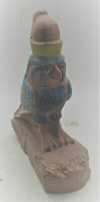 Beautiful Ancient Egyptian Stone Statuette Of Horus As A Falcon 600-300Bce