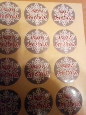 60 Round Labels 'MERRY CHRISTMAS' Snowflake Gift Seal Xmas Present Stickers