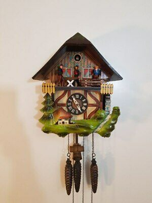 Vintage Animated Sawmill Musical Cuckoo Clock by Schmeckenbecher- Working