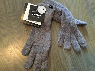 Echo Touch Text Stretch Fleece Tech Women's Gloves One Size Gray New with Tags