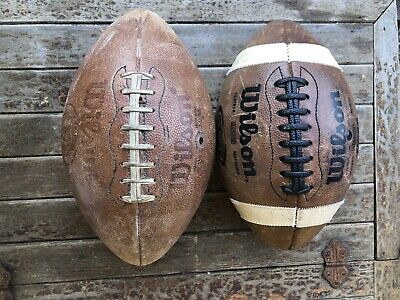 lot of 2 Wilson TD intercollegiate NCAA GST 1003 LEATHER FOOTBALL MADE IN USA