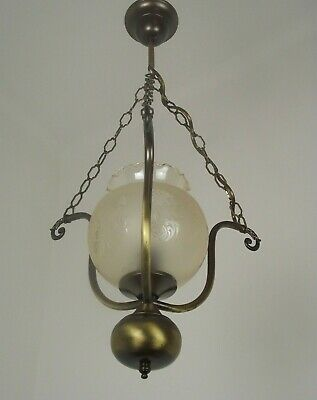 Lovely French Mid Century Hanging Ceiling Light With Decorative Glass Shade 1682