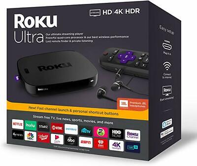 Roku Ultra Streaming Media Player 4670R 4K/HDR 2019 + Premium JBL Headphones NEW