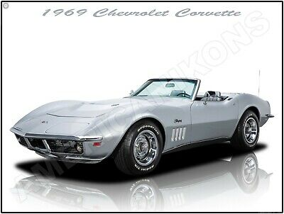 1969 Corvette Stingray Convertible Tin Metal Sign Chevy Retro Chevrolet GM