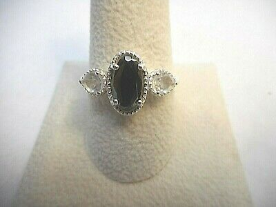 Silver Shungite, White Topaz Sterling Silver Ring (Size 10.0) TGW 1.50 cts.