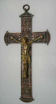 Stunning quality, 19thC French ornate cast, bronze & brass, Christ on the cross