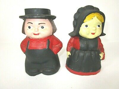 Matching Pair 2 Cast Iron Amish Couple Piggy Banks Mennonite Man Woman Boy Girl