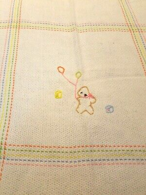 The Three Weavers Baby Blanket Acrylic Hand Woven White Bear Balloons