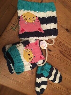Next Hat Scarf Mittens Set 3-9 Months Bnwt New 3-6-9 Baby Girls