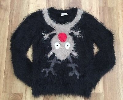Girls Next Fluffy Christmas Jumper Upside Down Rudolph Reindeer Age Six Years!!!