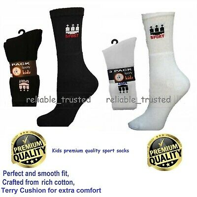 12 X Pairs Kids Boys Girls Unisex Motif Sport Socks School PE Black White Socks