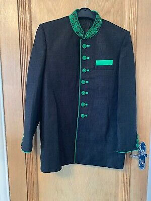 Mens Sherwani Black & Green Perfect for men height 5'5 to 6'2