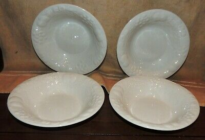 Set of 4 GIBSON  Flourish Pattern #2439 Coupe Cereal Soup Bowls Embossed Fruit