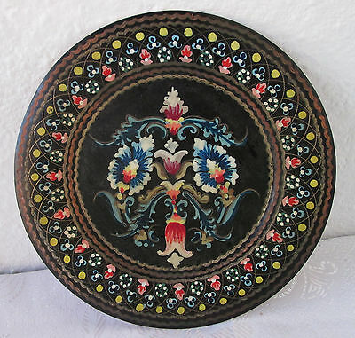 Antique vintage  Copper & brass painted flowers wall plate