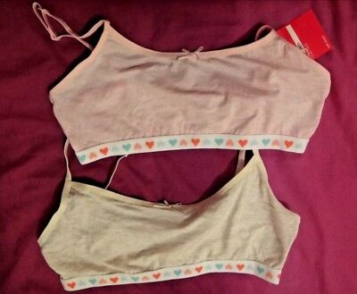 M & S 2 x 2 Girls Cotton Rich Crop Tops With Stretch BNWT Age 11-12