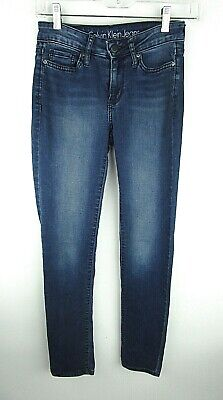 Calvin Klein Women's Blue Jeans Ultimate Skinny 25x32 (26x31 Actual) Dark  J