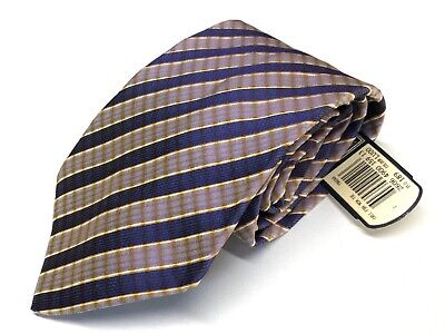 Mens Silk Tie by TIE RACK Made in Italy Purple Gold Striped Gift Ideas