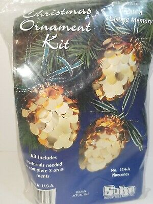 3 Holiday Pinecones Ornament Kit  Gold Sequins Sulyn Ind. MAKE Memories Craft