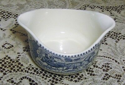 Currier & Ives Royal China Blue Gravy Boat No Underplate