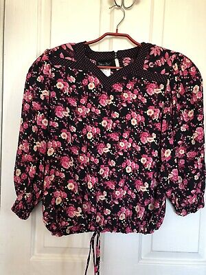 Diane Freis Skirt And Top Pink And Black Sz Med