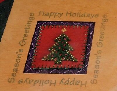 Sunset Christmas Tree Felt Wood Frame Picture Panel Sewing Kit Applique Pattern